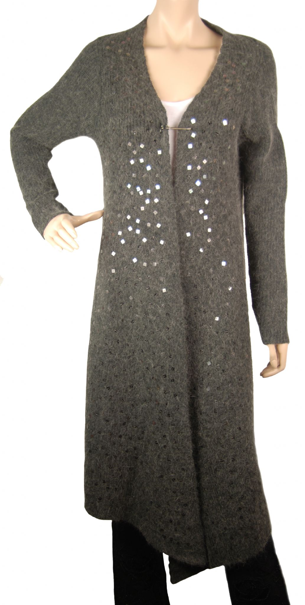 ConMiGo London CC120 Glamorous Long Dark Grey Angora Sequin ...